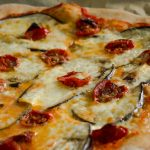 Almost wholegrain Pizza with eggplant and cheat's sun dried Tomatoes
